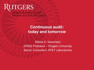 Continuous audit: today and tomorrow