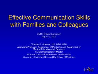 Effective Communication Skills with Families and Colleagues