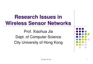 Research Issues in Wireless Sensor Networks
