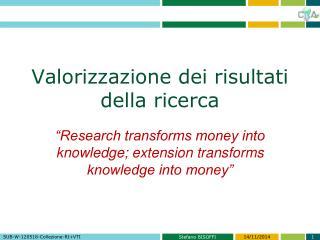 Valorizzazione dei risultati della ricerca