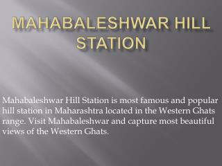 Mahabaleshwar Hill Station
