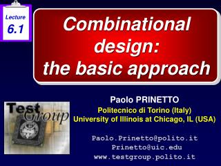 Combinational design: the basic approach