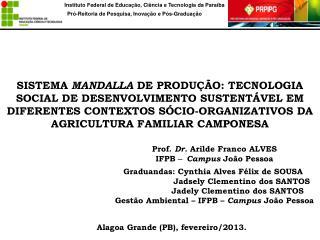 Prof.  Dr.  Arilde Franco ALVES IFPB  – Campus  João Pessoa