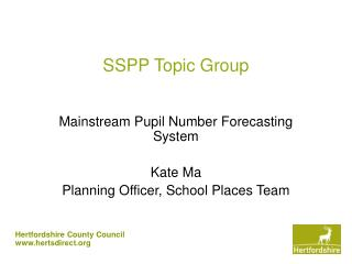 SSPP Topic Group