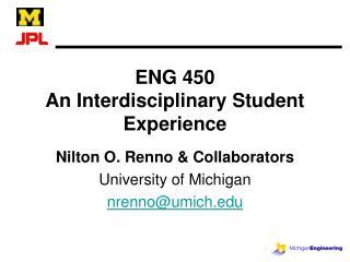 ENG 450 An Interdisciplinary Student Experience