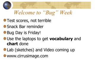 "Welcome to ""Bug"" Week"