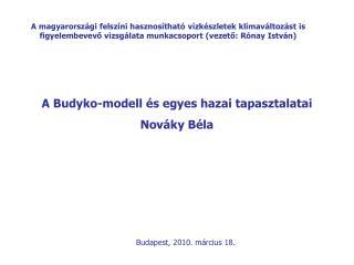 A Budyko-modell és egyes hazai tapasztalatai Nováky Béla