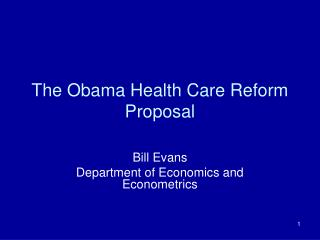The Obama Health Care Reform Proposal