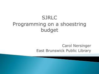 SJCLC Programming on a shoe string budget