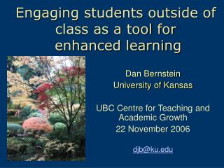 Engaging students outside of class as a tool for  enhanced learning
