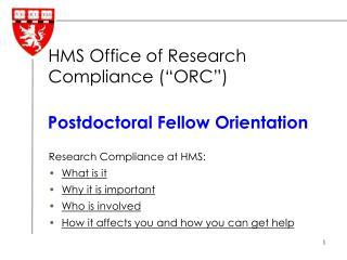 Postdoctoral Fellow Orientation