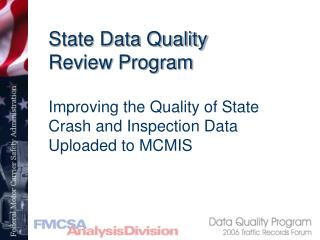 State Data Quality Review Program