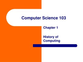 Computer Science 103