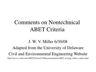 Comments on Nontechnical ABET Criteria