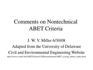 Comments on Nontechnical ABET Criteria