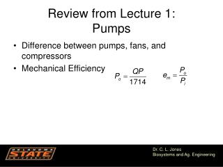 Review from Lecture 1: Pumps