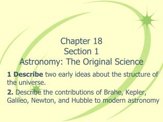 Chapter 18 Section 1 Astronomy: The Original Science