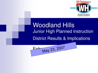 Woodland Hills  Junior High Planned Instruction  District Results & Implications