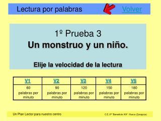 1  Prueba 3  Un monstruo y un ni o.  Elije la velocidad de la lectura