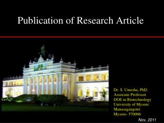 Publication of Research Article