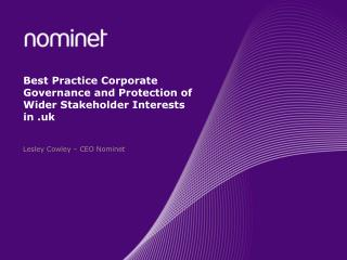Best Practice Corporate Governance and Protection of Wider Stakeholder Interests in .uk