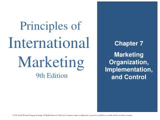 Chapter 7 Marketing Organization, Implementation, and Control