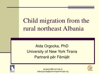 Child migration from the rural northeast Albania