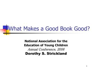 What Makes a Good Book Good?