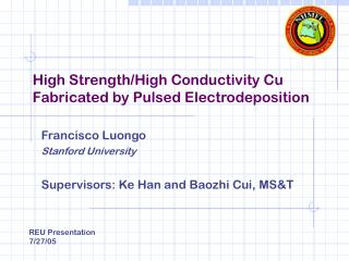 High Strength/High Conductivity Cu Fabricated by Pulsed Electrodeposition