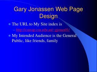 Gary Jonassen Web Page Design