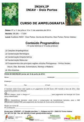 CURSO DE AMPELOGRAFIA Datas:  07 a 11 de julho e 10 e 11 de setembro de 2014