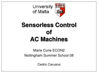 Sensorless Control of AC Machines