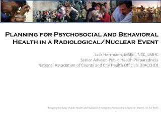 Planning for Psychosocial and Behavioral Health in a Radiological/Nuclear Event