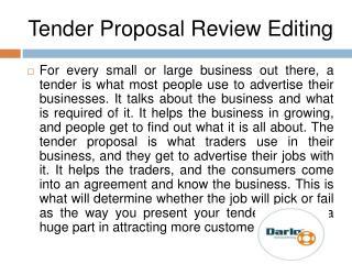 Tender Proposal Review Editing