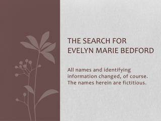 The search for EVELYN MARIE BEDFORD