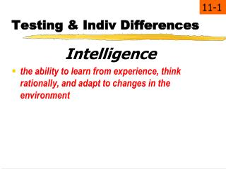 Testing & Indiv Differences