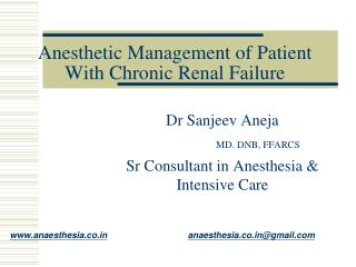 Anesthetic Management of Patient With Chronic Renal Failure