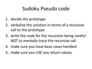 Sudoku Pseudo code