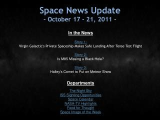 Space News Update - October 17 - 21, 2011 -