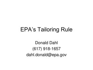 EPA's Tailoring Rule