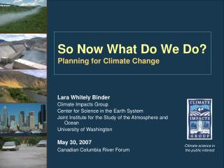 So Now What Do We Do? Planning for Climate Change