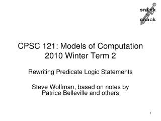 CPSC 121: Models of Computation 2010 Winter Term 2