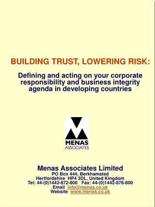 BUILDING TRUST, LOWERING RISK: