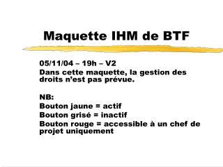 Maquette IHM de BTF