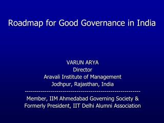Roadmap for Good Governance in India