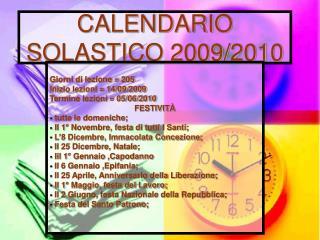 CALENDARIO SOLASTICO 2009/2010
