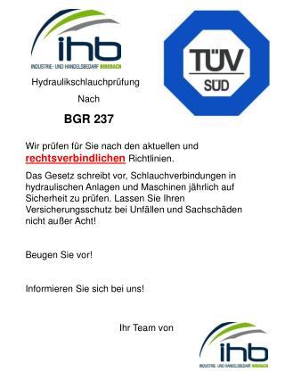 Hydraulikschlauchprüfung Nach  BGR 237