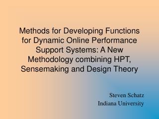 Steven Schatz Indiana University