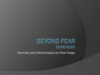 Beyond Fear Scheneier