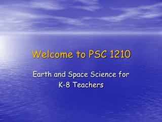 Welcome to PSC 1210